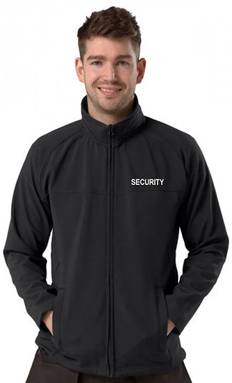 Black Active softshell jacket showing left chest placement of security text