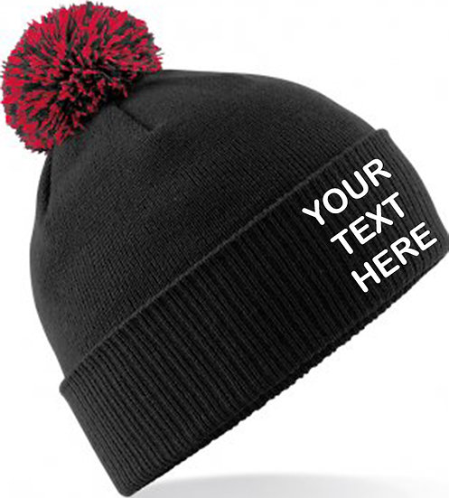 Black/Red Contrast PomPom Beanie showing front placement