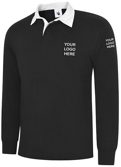 Black Rugby Shirt showing left chest and left sleeve placement