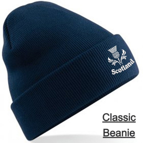 Navy Blue Classic Beanie showing thistle design and placement