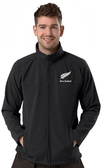 Black Active Softshell showing New Zealand Design and left chest placement