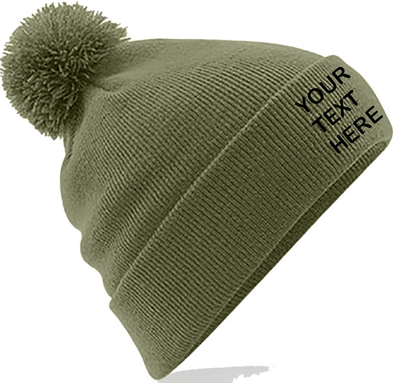 Moss Green PomPom Beanie showing front placement