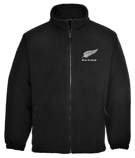 Embroidered New Zealand Full Zip Black Fleece