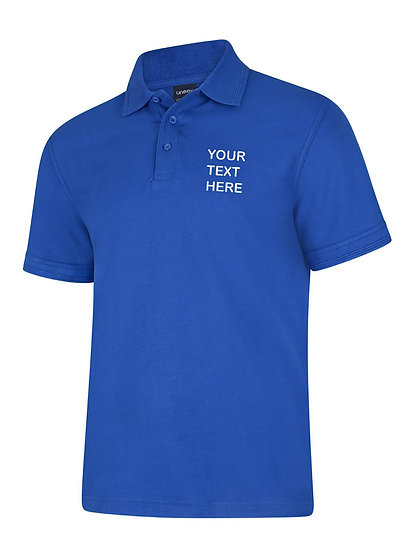 Royal Blue Polo Shirt showing left chest placement
