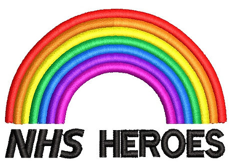 NHS Heroes embroidery with rainbow