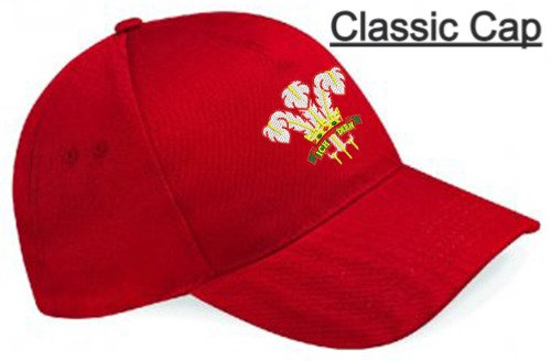 Red Classic Cap showing retro design and placement