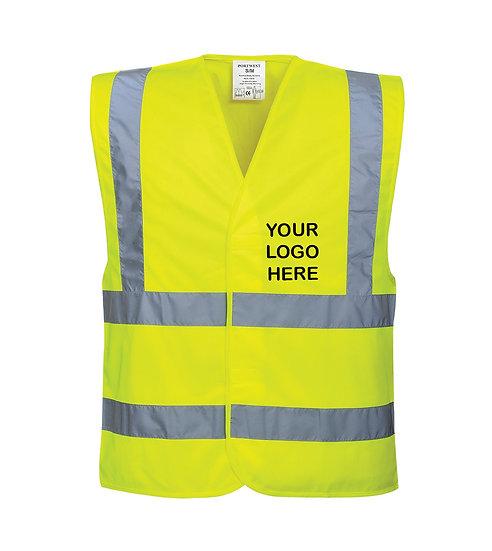 Hi-Vis Two Band & Brace Vest - C470 Yellow showing left chest placement