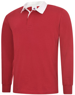 RED LONG SLEEVE RUGBY SHIRT