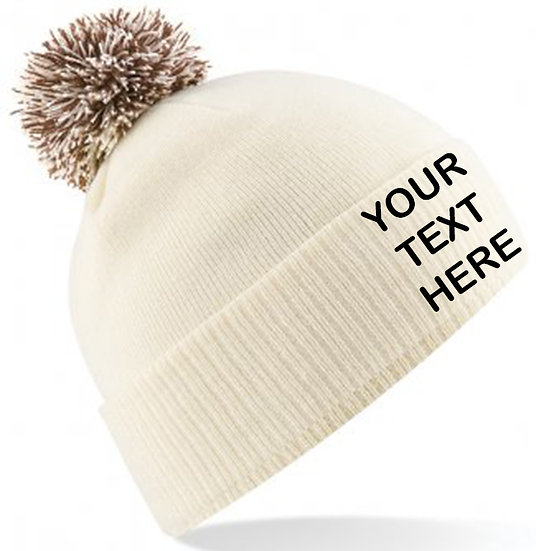 Off White/Mocha Contrast PomPom Beanie showing front placement