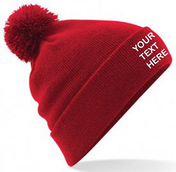 Classic Red PomPom Beanie showing front placement