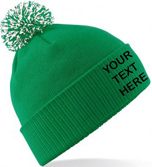 Kelly Green/White Contrast PomPom Beanie showing front placement