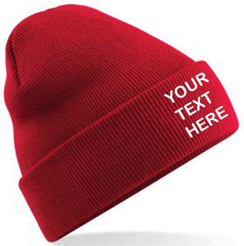 Classic Red Classic Beanie showing front placement