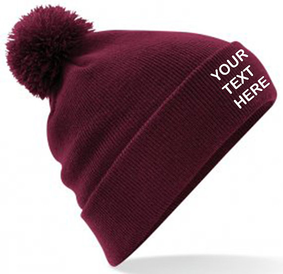 Burgundy PomPom Beanie showing front placement