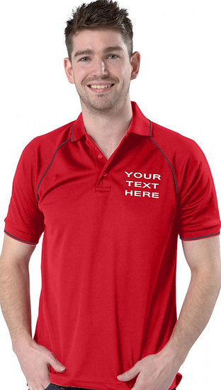 Red polo with Graphite Grey piping on sleeves and collar showing left chest placement