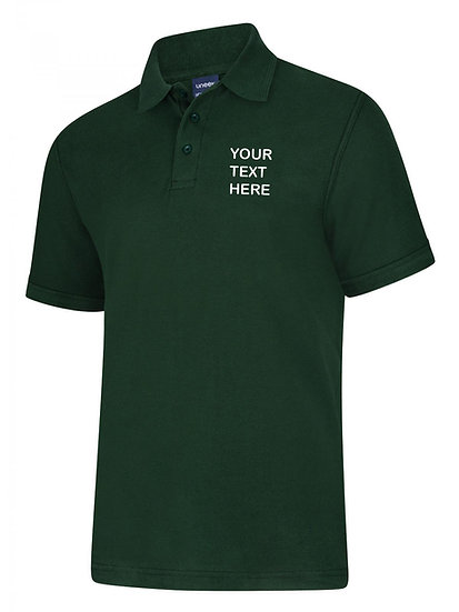 Bottle Green Polo Shirt showing left chest placement