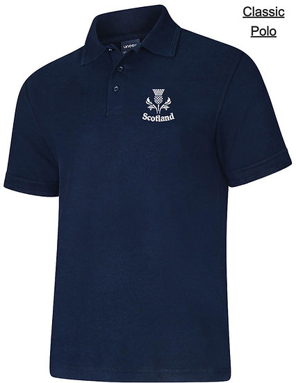 Navy Blue Classic Polo showing thistle design and left chest placement