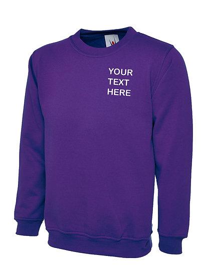 Purple Sweatshirt showing left  chest placement