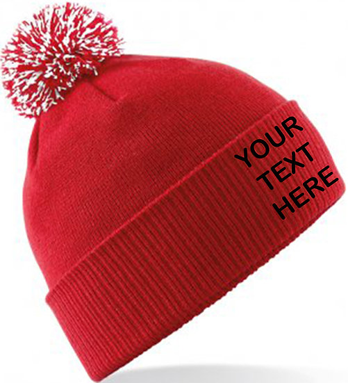 Red/White Contrast PomPom Beanie showing front placement