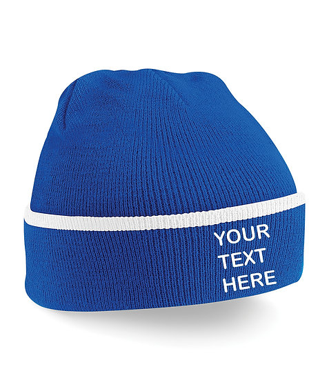 Royal Blue/White Teamwear Beanie showing front placement