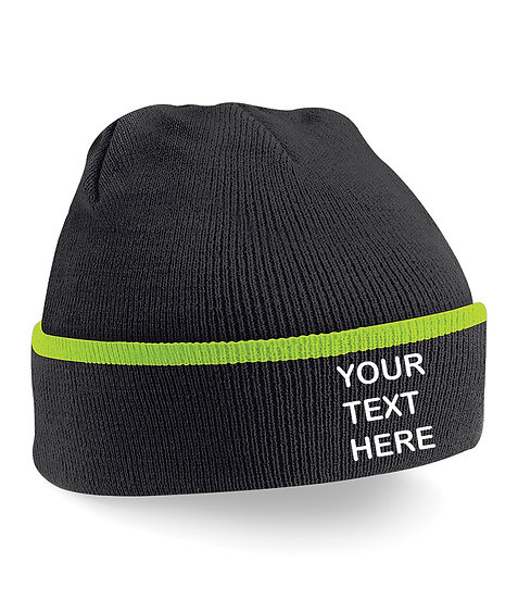 Black/Lime Green Teamwear Beanie showing front placement