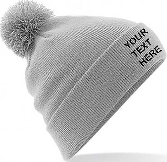 Light Grey PomPom Beanie showing front placement