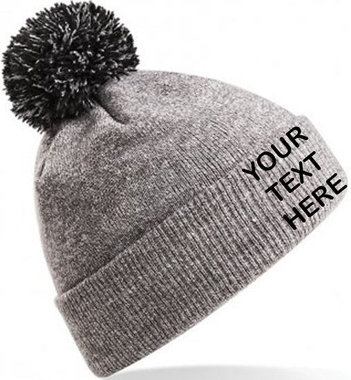 Heather Grey/Black Contrast PomPom Beanie showing front placement