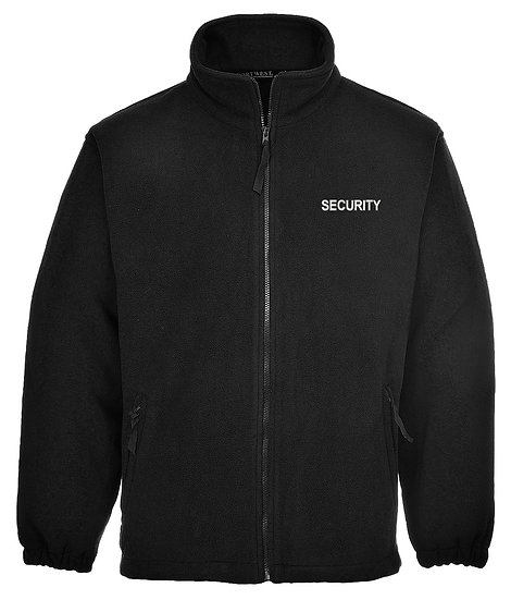 Black fleece jacket showing left chest placement of security text