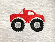 Red truck embroidery