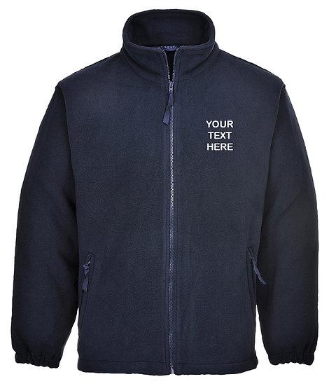 Navy Blue Fleece showing left chest text placement