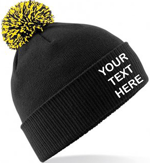 Black/Yellow Contrast PomPom Beanie showing front placement
