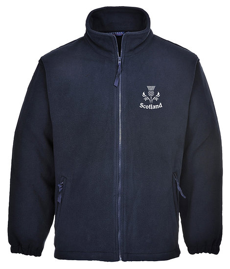 Navy Blue Fleece showing placement of design