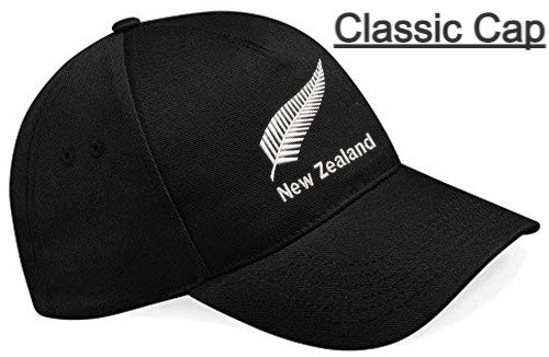 Embroidered New Zealand Black Classic Cap showing design and placement