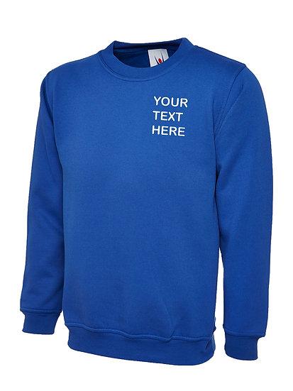 Royal Blue Sweatshirt showing left chest placement
