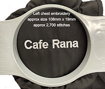 Cafe Rana embroidery showing approx design details