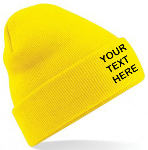 Yellow Classic Beanie showing front placement