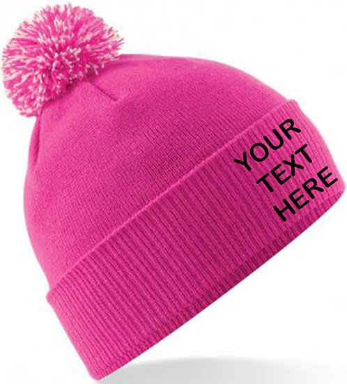 Fuchsia Pink/White Contrast PomPom Beanie showing front placement