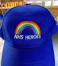 Photo showing NHS Heroes embroidery on a cap