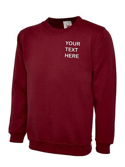 Maroon Sweatshirt showing left chest placement