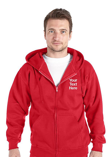 Red Zipped Hoody showing left chest placement