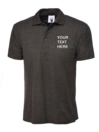 Charcoal Grey Polo Shirt showing left chest placement