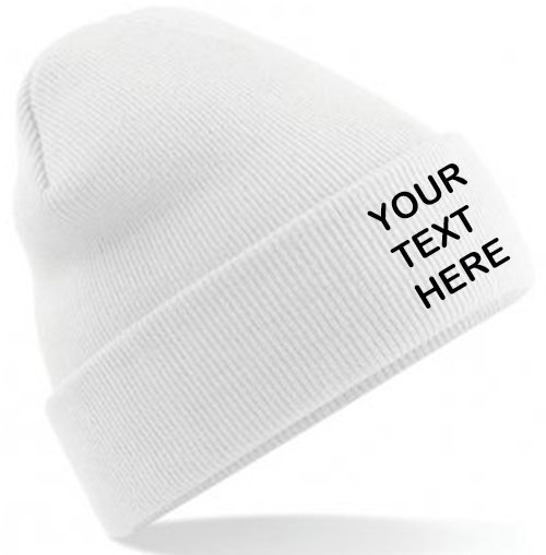 White Classic Beanie showing front placement