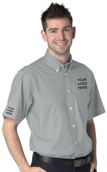 Silver Grey Short Sleeve Oxford Shirt showing left chest and right sleeve placement