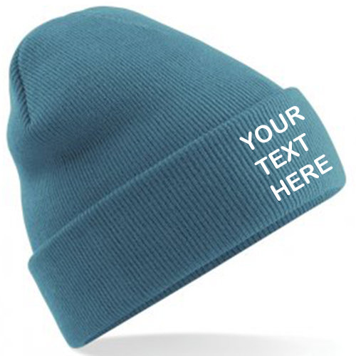 Airforce Blue Classic Beanie showing front embroidery