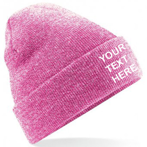 Heather Grey/Pink Classic Beanie showing front placement