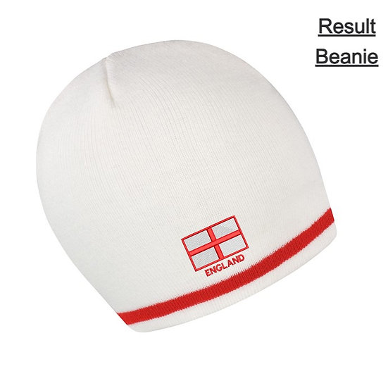 White/Red Result Beanie showing St George flag design and front placement