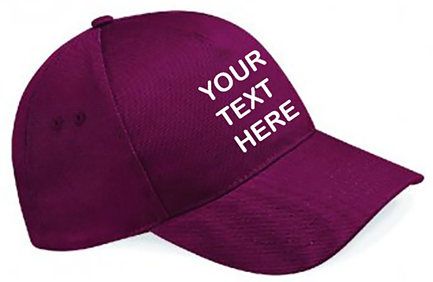 Burgundy Classic Cap showing front placement
