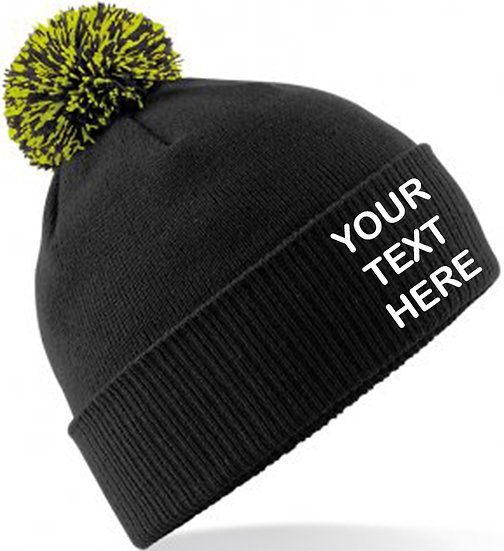 Black/Lime Green Contrast PomPom Beanie showing front placement