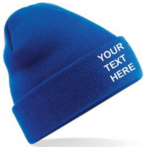 Bright Royal Blue Classic Beanie showing front placement