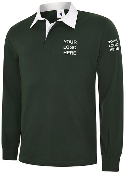 Bottle Green Rugby Shirt showing left chest and left sleeve placement