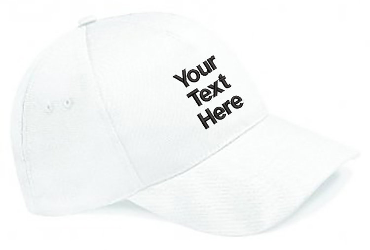 White Classic Cap showing front placement